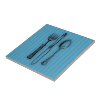 Time for Tea #3 Cutlery Ceramic Tile