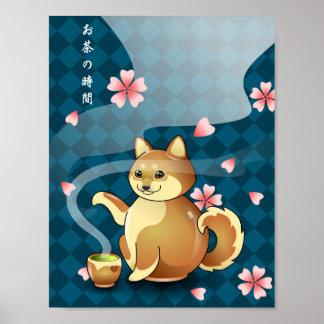Time for Tea Chibi Shiba Inu Teapot Kanji Poster