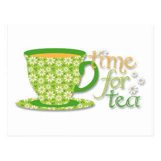 Time For Tea Green Daisy Cup Postcard