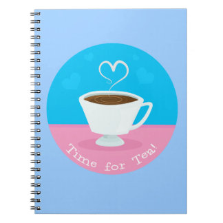 Time for Tea heart teacup Spiral Notebook