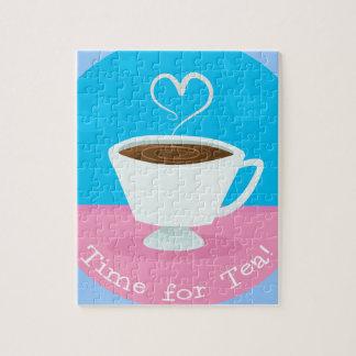 Time for Tea heart teacup Jigsaw Puzzle