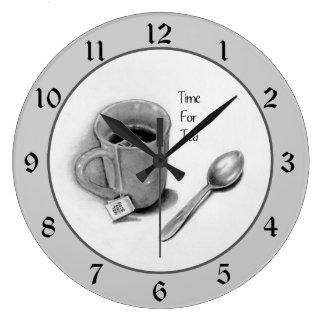 Time For Tea: Pencil Drawing, Mug, Spoon Clocks