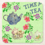 "TIME for TEA Square Paper Coaster<br><div class=""desc"">An English tea garden in your kitchen.  Tea pots,  scones,  and flowers will remind you of high tea in an English country garden. This design is printed to imitate an antique linen.</div>"
