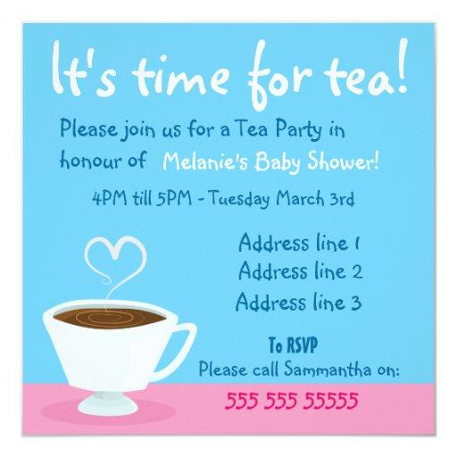 """Time for Tea"" Tea party invitation 5.25"" Square Invitation Card"