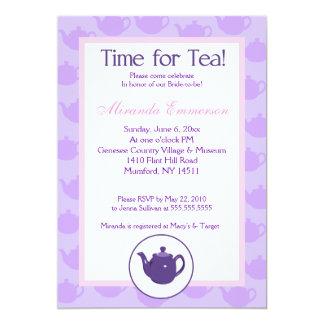 Time for Tea Teapot (Purple) Bridal Shower 5x7 Card