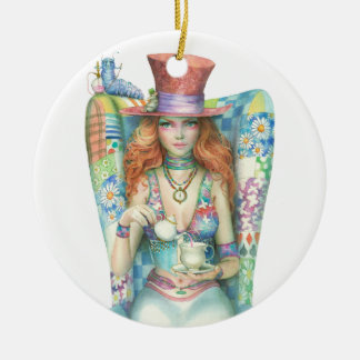 Time for Tea, The Mad Hatter Round Ceramic Ornament