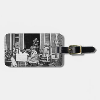Time for Tea with Friends Vintage Tea Party B&W Bag Tag