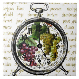 Time for Wine Vintage Clock Tile Trivet