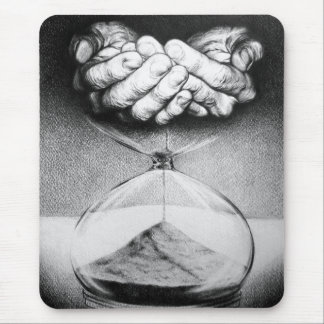 """""""Time"""" hourglass pencil drawing mousepad"""