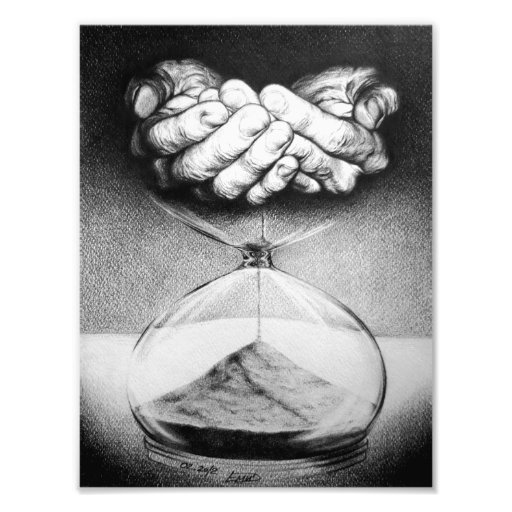 """""""Time"""" Hourglass Pencil Drawing Photo Print"""