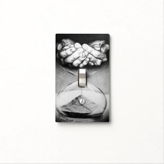 Time hourglass surreal drawing Light switch cover