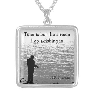 Time is but the Stream Square Pendant Necklace