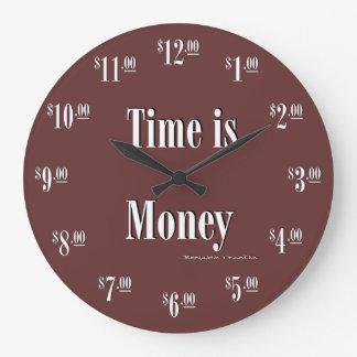 Time is Money Clock - White text