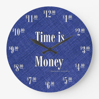 Time is Money Clock - White text on blue texture