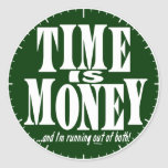 Time is Money Round Stickers