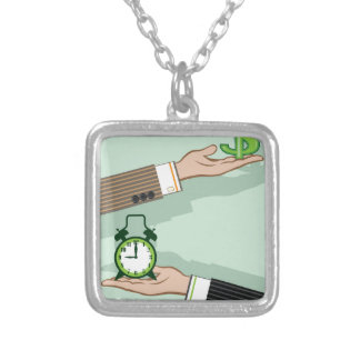Time is Money Square Pendant Necklace