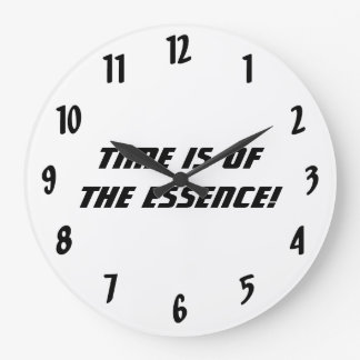 Time is of the essence!-Black and White Large Clock
