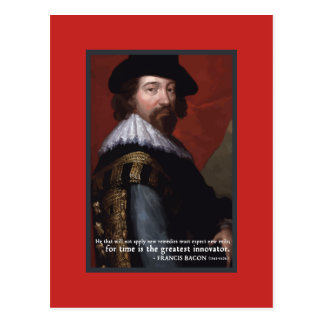 'Time is the great innovator' quote postcard