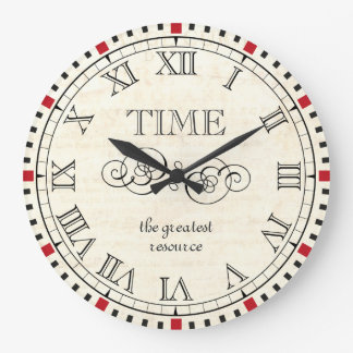 Time is the greatest resource vintage steampunk large clock