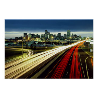 Time Lapse City Lights Poster