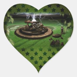 Time Machine Crop Circles Heart Sticker