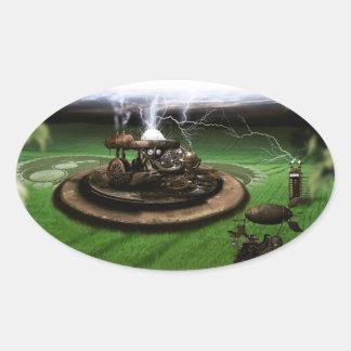 Time Machine Crop Circles Oval Sticker