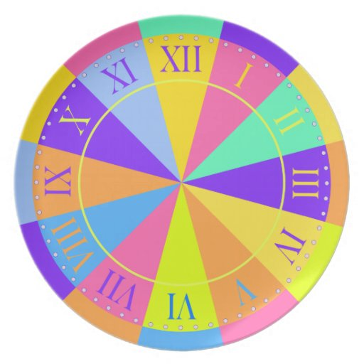Time of Day Colorful Clockface Plate