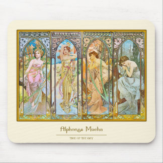 Time of the Day, Alphonse Mucha Mouse Pad