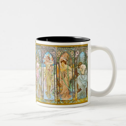 Time of the Day, Alphonse Mucha Two-Tone Coffee Mug