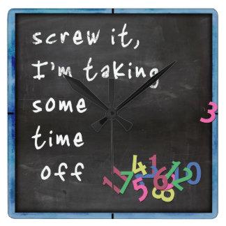 Time Off Blackboard w/Blue Square Wall Clock