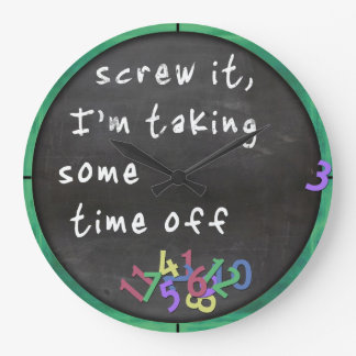 Time Off Blackboard w/Green Large Clock