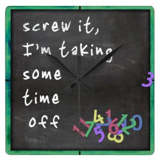 Time Off Blackboard w/Green Square Wall Clock