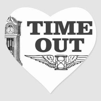 time out clock heart sticker