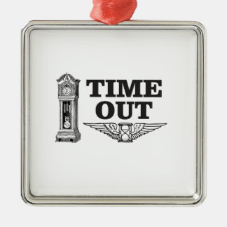 time out clock metal ornament