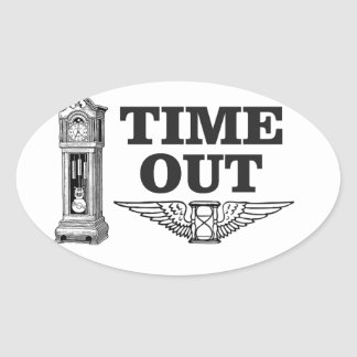 time out clock oval sticker
