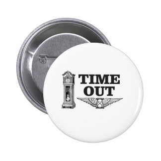time out clock pinback button