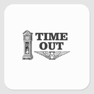 time out clock square sticker