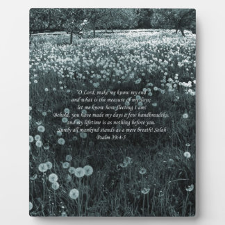 Time Passes Greyish Blue Landscape with Psalm 39 Display Plaque