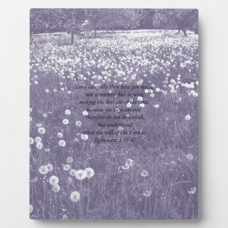 """Time Passes"" Purple Dandelion Clock Ephesians 5 Display Plaque"