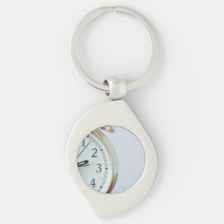time Silver-Colored swirl metal keychain