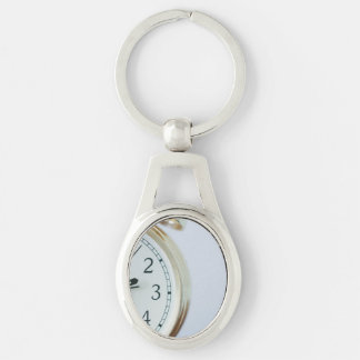 time Silver-Colored oval metal keychain