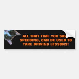Time Saved Used On Driving Lessons Peeking Cat Bumper Sticker