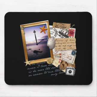 """Time"" Scrapbook/Collage Mouse Pad"