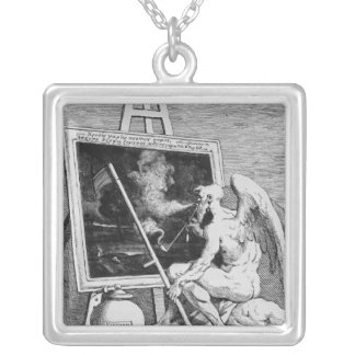 Time smoking a Picture, 1761 Silver Plated Necklace