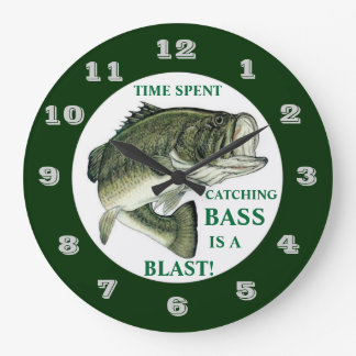 TIME SPENT CATCHING BASS IS A BLAST LARGE CLOCK