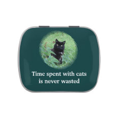 Time Spent With Cats Is Never Wasted Cute Candy Jelly Belly Candy Tins at Zazzle