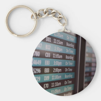 Time Themed, A Time Display Board Displaying The C Basic Round Button Keychain