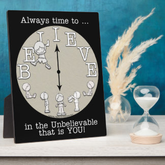 Time To Believe-Little Boy and Clock Plaque