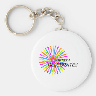 Time to Celebrate Basic Round Button Keychain
