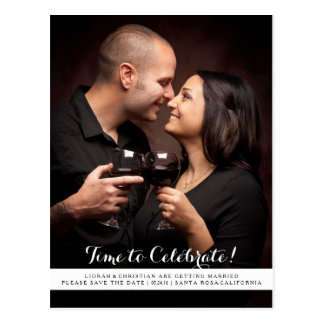 Time to Celebrate Save the Date Postcard